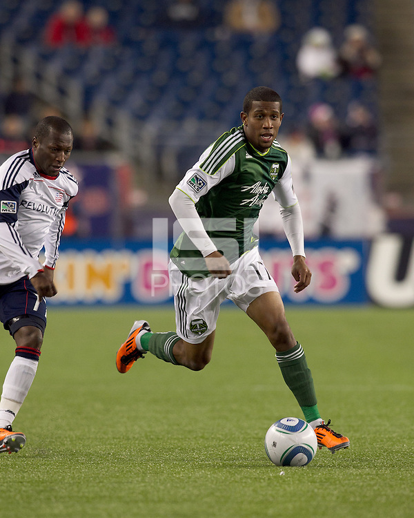 Portland Timbers midfielder Jeremy Hall (17) on the attack. In a Major League Soccer (MLS) match, the New England Revolution tied the Portland Timbers, 1-1, at Gillette Stadium on April 2, 2011.