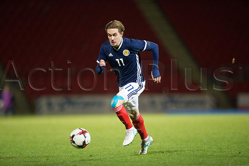 14th November 2017, McDiarmid Park, Perth, Scotland; UEFA Under 21 European Championships qualification, Scotland U-21 versus Ukraine U-21; Scotland's Scott Wright breaks on the ball