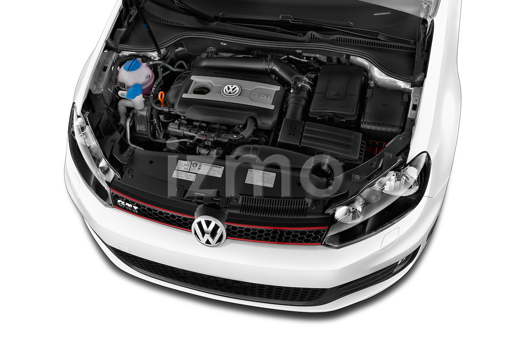 High angle engine detail of a  2013 Volkswagen GTI 4 Door hatchback2013 Volkswagen GTI 4 Door hatchback