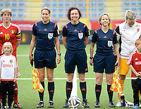 20150523 - SINT-TRUIDEN ,  BELGIUM : Dutch Referees pictured with Ncolet Bakker (left) , Vivian Peeters (middle) and Fijke Hoogendijk (right)  during the friendly soccer game between the Belgian Red Flames and Norway, a preparation game for Norway for the Women's 2015 World Cup, Saturday 23 May 2015 at Staaien in Sint-Truiden , Belgium. PHOTO DAVID CATRY