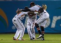 Naranjeros gana 4 carreras por 3, durante juego de beisbol de la Liga Mexicana del Pacifico temporada 2017 2018. Tercer juego de la serie de playoffs entre Mayos de Navojoa vs Naranjeros. 04Enero2018. (Foto: Luis Gutierrez /NortePhoto.com)