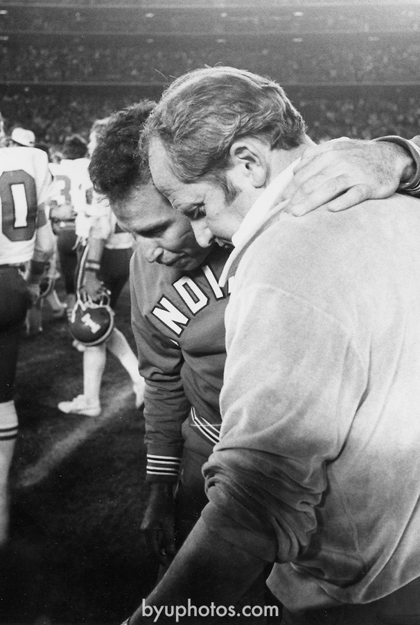 Edwards &amp; Corso, Lee 1979 holiday bowl<br /> <br /> Coach LaVell Edwards with Coach Lee Corso of Indiana.<br /> <br /> December 21, 1979<br /> <br /> Photo by Mark Philbrick/BYU<br /> <br /> Copyright BYU Photo 2009<br /> All Rights Reserved<br /> photo@byu.edu  <br /> (801)422-7322