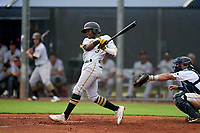 GCL Pirates Norkis Marcos (3) bats during a Gulf Coast League game against the GCL Rays on August 7, 2019 at Charlotte Sports Park in Port Charlotte, Florida.  GCL Rays defeated the GCL Pirates 4-1 in the first game of a doubleheader.  (Mike Janes/Four Seam Images)