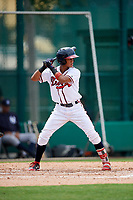 GCL Braves shortstop Luidemid Rojas (1) at bat during the second game of a doubleheader against the GCL Yankees West on July 30, 2018 at Champion Stadium in Kissimmee, Florida.  GCL Braves defeated GCL Yankees West 5-4.  (Mike Janes/Four Seam Images)