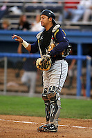 September 7 2008:  Catcher Josue Peley of the State College Spikes, Class-A affiliate of the Pittsburgh Pirates, during a game at Dwyer Stadium in Batavia, NY.  Photo by:  Mike Janes/Four Seam Images