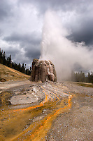 The Lone Star Geyser erputs in Yellowstone National Park, Thursday, June 2, 2005. The two-and-a-half-mile trail to the geyser, open to bikes and hikes, leads to an impressive solitary geyser that erupts every three hours. (Kevin Moloney for the New York Times)