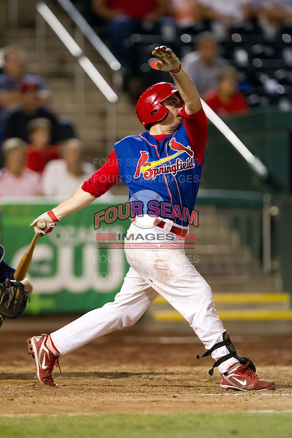 Charles Cutler (37) of the Springfield Cardinals follows through his swing during a game against the Corpus Christi Hooks at Hammons Field on August 13, 2011 in Springfield, Missouri. Springfield defeated Corpus Christi 8-7. (David Welker / Four Seam Images)