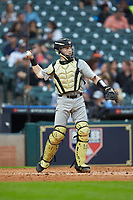 Vanderbilt Commodores catcher Philip Clarke (5) in action against the Louisiana Ragin' Cajuns in game five of the 2018 Shriners Hospitals for Children College Classic at Minute Maid Park on March 3, 2018 in Houston, Texas.  The Ragin' Cajuns defeated the Commodores 3-0.  (Brian Westerholt/Four Seam Images)