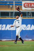 Lake County Captains left fielder Todd Isaacs (6) catches a fly ball during the first game of a doubleheader against the South Bend Cubs on May 16, 2018 at Classic Park in Eastlake, Ohio.  South Bend defeated Lake County 6-4 in twelve innings.  (Mike Janes/Four Seam Images)