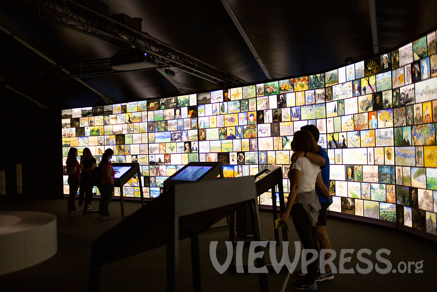 """LISBON, PORTUGAL - MAY 31: A general view of the """"Meet VicentVanGogh"""" exhibition as the spread of the (COVID-19) continues in Lisbon, on May 31, 2020. <br /> Meet Vincent van Gogh is an interactive experience, to get to know Lisbon, through which it proposes to make Vincent's art accessible to as many people as possible.<br /> (Photo by Luis Boza/VIEWpress via Getty Images)"""