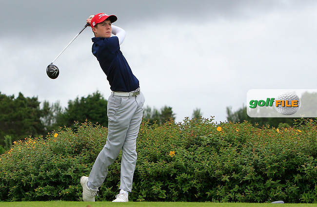 Morgan Hanley (Limerick) on the 18th tee during R1 of the 2016 Connacht U18 Boys Open, played at Galway Golf Club, Galway, Galway, Ireland. 05/07/2016. <br /> Picture: Thos Caffrey | Golffile<br /> <br /> All photos usage must carry mandatory copyright credit   (&copy; Golffile | Thos Caffrey)