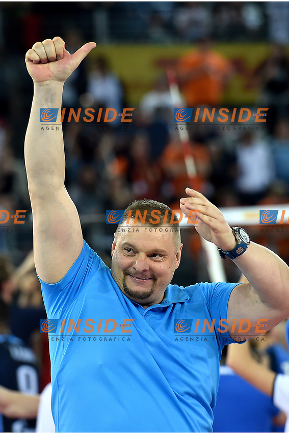 celebration coach Vladimir Alekno  for the gold medal of Kazan.<br /> Roma 29-04-2017  PalaLottomatica<br /> DHL 2017 CEV Volleyball Champions League,<br /> Final Four - Men<br /> Final - gold medal<br /> Zenit Kazan - Sir Sicoma Colussi Perugia<br /> Foto Antonietta Baldassarre / Insidefoto