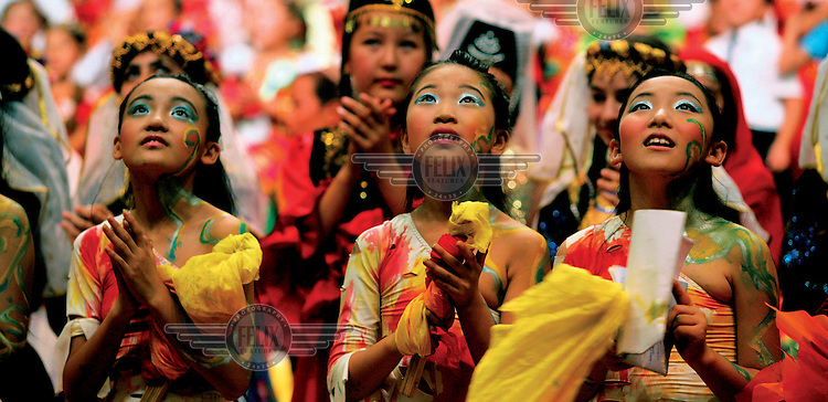 Dancers from China perform at an international children's meeting promoting culture and peace..