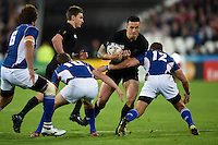 Sonny Bill Williams of New Zealand takes on the Namibia defence. Rugby World Cup Pool C match between New Zealand and Namibia on September 24, 2015 at The Stadium, Queen Elizabeth Olympic Park in London, England. Photo by: Patrick Khachfe / Onside Images