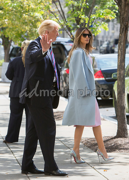United States President Donald J. Trump and first lady Melania Trump arrive at St. John's Church in Washington, DC, on a day of prayer for the people affected by Hurricane Harvey, September 3, 2017. <br /> Photo Credit: Chris Kleponis/CNP/AdMedia