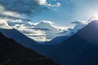 View of Nuptse, Everest, Lhotse and Ama Dablam at sunrise from Namche Bazar, Khumbu, Nepal