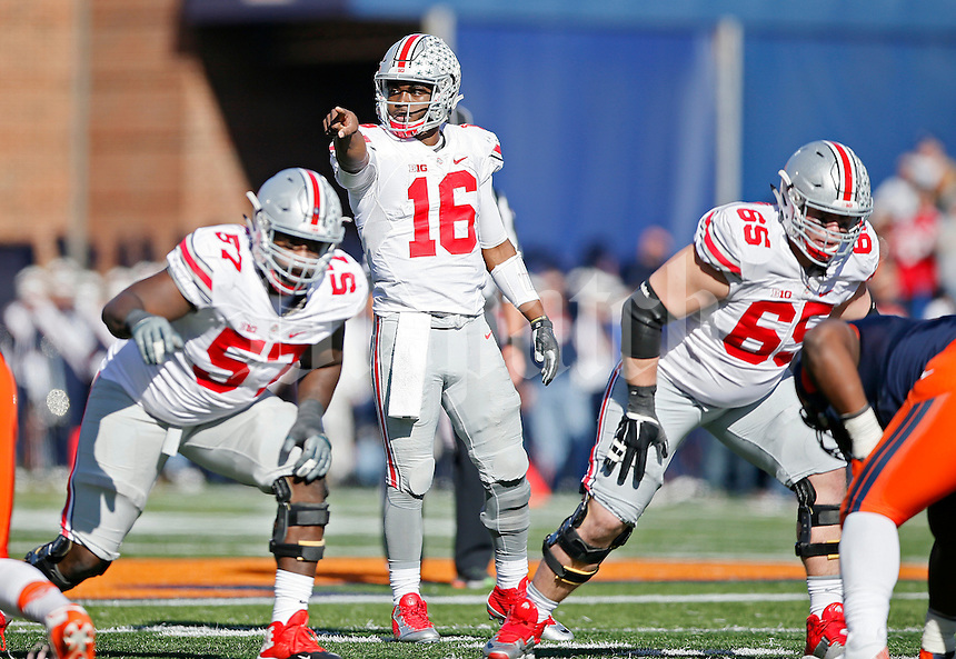 Ohio State Buckeyes offensive lineman Chase Farris (57) and Ohio State Buckeyes offensive lineman Pat Elflein (65) and Ohio State Buckeyes quarterback J.T. Barrett (16) against Illinois Fighting Illini at Memorial Stadium in Champaign, IL on November 14, 2015.  (Dispatch photo by Kyle Robertson)