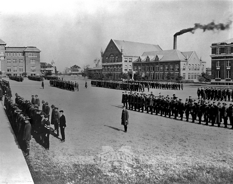 Drill Field with Cadets in front of McCain Engineering <br /> (&copy; Mississippi State University)