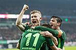 12.03.2018, Weserstadion, Bremen, GER, 1.FBL, SV Werder Bremen vs 1. FC Koeln<br /> <br /> im Bild<br /> Milot Rashica (Werder Bremen #11) bejubelt seinen Treffer zum 2:1, mit Teamkollegen, Florian Kainz (Werder Bremen #7), Zlatko Junuzovic (Werder Bremen #16), <br /> <br /> Foto &copy; nordphoto / Ewert