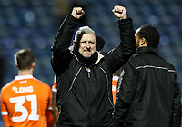 Blackpool's manager Terry McPhillips celebrates victory at the end of the match<br /> <br /> Photographer Andrew Kearns/CameraSport<br /> <br /> The EFL Sky Bet League One - Portsmouth v Blackpool - Saturday 12th January 2019 - Fratton Park - Portsmouth<br /> <br /> World Copyright © 2019 CameraSport. All rights reserved. 43 Linden Ave. Countesthorpe. Leicester. England. LE8 5PG - Tel: +44 (0) 116 277 4147 - admin@camerasport.com - www.camerasport.com
