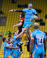 Watford, England. Marco Wentzel of London Wasps wins the line out during Aviva Premiership Saracens vs London Wasps at Vicarage Road  Watford England on November 4, 2012