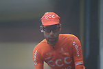 Laurens ten Dam (NED) CCC Team at sign on for a wet Stage 2 of the Criterium du Dauphine 2019, running 180km from Mauriac to Craponne-sur-Arzon, France. 9th June 2019<br /> Picture: Colin Flockton | Cyclefile<br /> All photos usage must carry mandatory copyright credit (© Cyclefile | Colin Flockton)