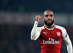 Arsenal's Alexandre Lacazette celebrates scoring his sides second goal during the premier league match at the Emirates Stadium, London. Picture date 25th September 2017. Picture credit should read: David Klein/Sportimage