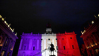 The facade of the Campidoglio lit up in blue, white and red, the colors of the French flag, in tribute to the attack victims of Nice, in Rome, 15 July 2016.<br /> UPDATE IMAGES PRESS/Isabella Bonotto