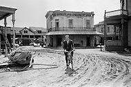 "Hollywood, Los Angeles, California, USA.1969. French actor and singer Yves Montand bicycling on the set of a western movie in Hollywood. Montand was an immensely popular nightclub singer and movie actor and most famous for his dramatic role in the 1953 thriller ""The Wages of Fear""."