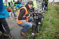 Lukasz Wisniowski (POL/Etixx-QuickStep) checked by a medic after a crash<br /> <br /> 77th Gent-Wevelgem 2015