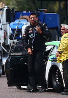 Jul. 19, 2014; Morrison, CO, USA; NHRA pro stock driver Dave Connolly during qualifying for the Mile High Nationals at Bandimere Speedway. Mandatory Credit: Mark J. Rebilas-