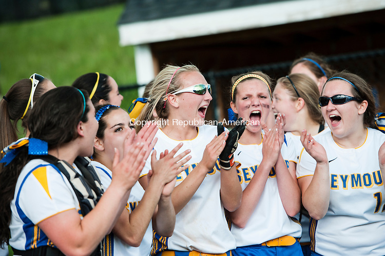 SEYMOUR, CT-30 May 2014-053014EC07-  Seymour reacts after beating Torrington, 2-1, to win the NVL softball championship at Woodland Friday. Erin Covey Republican-American