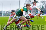 Killian Spillane  Kerry in action against Kyle Coney and Mattie DonnellyTyrone during the Allianz Football League Division 1 Round 1 match between Kerry and Tyrone at Fitzgerald Stadium, Killarney on Sunday.