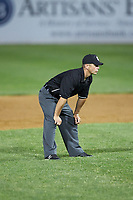 Umpire Dane Poncsak handles the calls on the bases during the Carolina League game between the Fayetteville Woodpeckers and the Wilmington Blue Rocks at Frawley Stadium on June 6, 2019 in Wilmington, Delaware. The Woodpeckers defeated the Blue Rocks 8-1. (Brian Westerholt/Four Seam Images)
