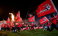 Crusaders flags during the 2018 Super Rugby final between the Crusaders and Lions at AMI Stadium in Christchurch, New Zealand on Sunday, 29 July 2018. Photo: Joe Johnson / lintottphoto.co.nz