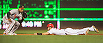 25 August 2016: Washington Nationals outfielder Bryce Harper steals second base in the bottom of the 4th inning against the Baltimore Orioles at Nationals Park in Washington, DC. The Nationals blanked the Orioles 4-0 to salvage one game of their 4-game home and away series. Mandatory Credit: Ed Wolfstein Photo *** RAW (NEF) Image File Available ***