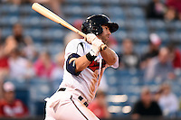 Nashville Sounds third baseman Taylor Green (3) at bat during a game against the Omaha Storm Chasers on May 19, 2014 at Herschel Greer Stadium in Nashville, Tennessee.  Nashville defeated Omaha 5-4.  (Mike Janes/Four Seam Images)
