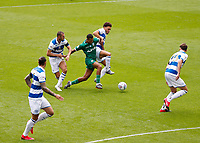 11th July 2020; The Kiyan Prince Foundation Stadium, London, England; English Championship Football, Queen Park Rangers versus Sheffield Wednesday; Alessio da Cruz of Sheffield Wednesday being challenged by Dominic Ball and Luke Amos of Queens Park Rangers