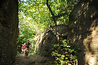 NWA Democrat-Gazette/ANDY SHUPE<br /> Residents hike Saturday, Aug. 29, 2015, through Rock City along the trail on Mount Kessler in Fayetteville. A master trails plan is being developed that will be used to manage and extend about seven miles of soft-surface nature trails atop the wooded hillside in southwest Fayetteville.