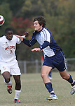 10 November 2007: Duke's Paul Dudley (6) and NC State's Stanley Mathurin (5). The Duke University Blue Devils defeated the North Carolina State University Wolfpack 2-0 at Method Road Soccer Stadium in Raleigh, North Carolina in an Atlantic Coast Conference NCAA Division I Men's Soccer game.