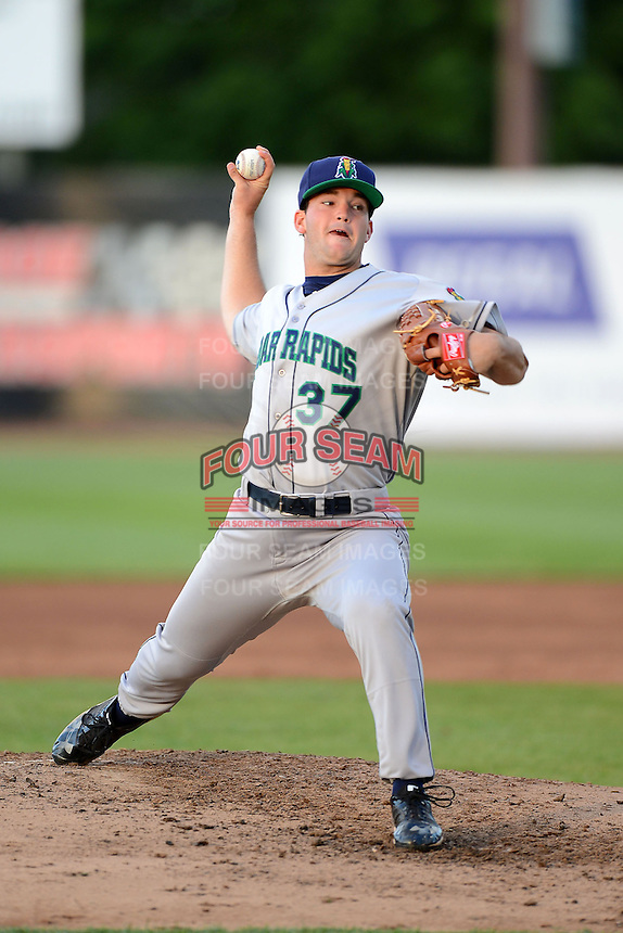 Cedar Rapids Kernels pitcher Hudson Boyd #37 during a game against the Beloit Snappers on May 22, 2013 at Pohlman Field in Beloit, Wisconsin.  Beloit defeated Cedar Rapids 7-6.  (Mike Janes/Four Seam Images)