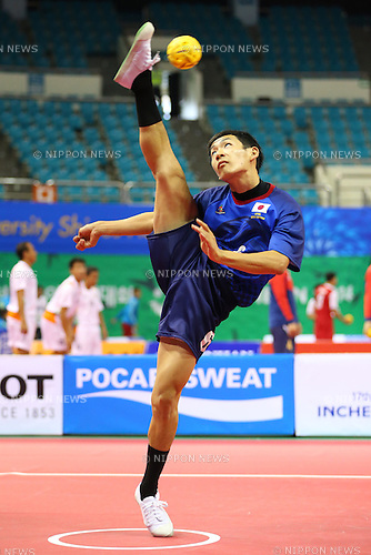 Atsuki Shimizu (JPN),<br /> SEPTEMBER 25, 2014 - Sepak takraw : <br /> Men's Team Preliminary <br /> at Bucheon Gymnasium <br /> during the 2014 Incheon Asian Games in Incheon, South Korea. <br /> (Photo by Shingo Ito/AFLO SPORT)