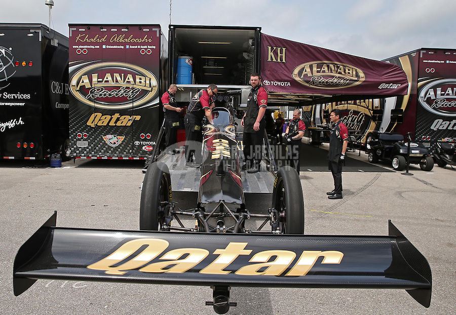 Apr. 26, 2013; Baytown, TX, USA: NHRA crew members for top fuel dragster driver Khalid Albalooshi during qualifying for the Spring Nationals at Royal Purple Raceway. Mandatory Credit: Mark J. Rebilas-