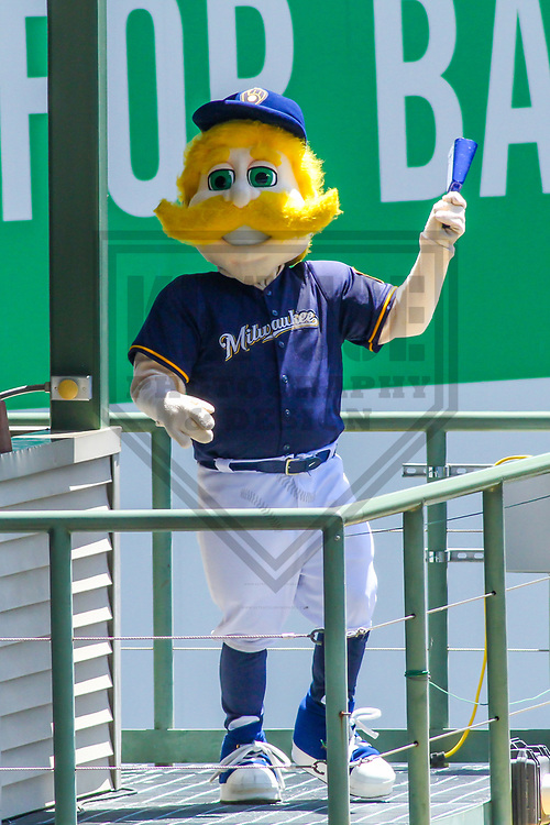 Milwaukee Brewers mascot Bernie Brewer during a Major League Baseball game against the Baltimore Orioles on July 3, 2017 at Miller Park in Milwaukee, Wisconsin.  Milwaukee defeated Baltimore 8-1. (Brad Krause/Krause Sports Photography)