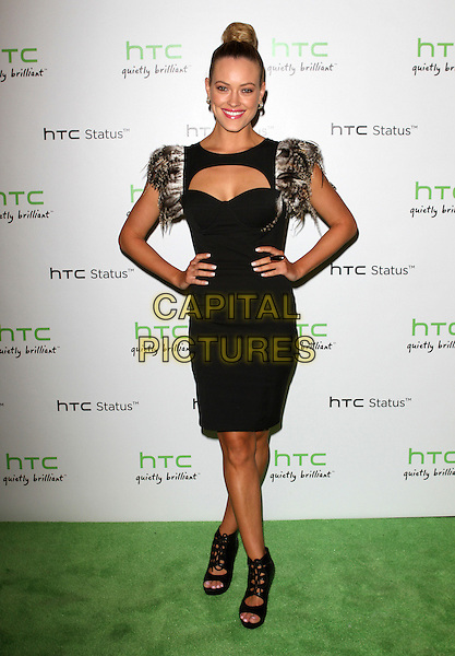 Peta Murgatroyd.The HTC Statusª Social Launch Event held at Paramount Studios in Hollywood, California, USA..July 19th, 2011.full length dress sleeves hands on hips black brown feather hair up bun cut out away cleavage open toe sandals shoes  .CAP/ADM/KB.©Kevan Brooks/AdMedia/Capital Pictures.