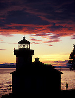 Lime Kiln Lighthouse at sunset on San Juan Island near Friday Harbor, Wash.