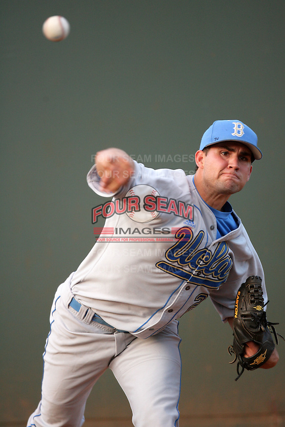 Dan Klein of the UCLA Bruins during game against the Cal.St. Fullerton Titans at Jackie Robinson Stadium in Los Angeles,California on June 12, 2010. Photo by Larry Goren/Four Seam Images