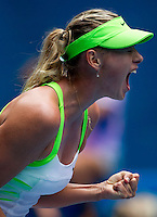MARIA SHARAPOVA (RUS) against ANGELIQUE KERBER (GER) in the third round of the Women's Singles. Maria Sharapova beat Angelique Kerber 6-1 6-2 ..21/01/2012, 21st January 2012, 21.01.2012..The Australian Open, Melbourne Park, Melbourne,Victoria, Australia.@AMN IMAGES, Frey, Advantage Media Network, 30, Cleveland Street, London, W1T 4JD .Tel - +44 208 947 0100..email - mfrey@advantagemedianet.com..www.amnimages.photoshelter.com.