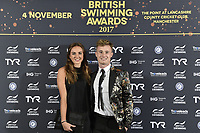 Picture by Allan McKenzie/SWpix.com - 04/11/17 - Swimming - British Swimming Awards 2017 - The Poiint, Lancashire County Cricket Ground, Manchester, England - Jack Laugher and Lois Toulson on the red carpet.