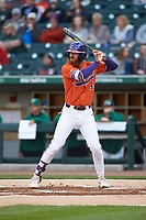 Grayson Byrd (4) of the Clemson Tigers at bat against the Charlotte 49ers at BB&T BallPark on March 26, 2019 in Charlotte, North Carolina. The Tigers defeated the 49ers 8-5. (Brian Westerholt/Four Seam Images)